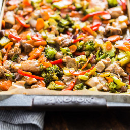 Honey Garlic Chicken and Veggie Sheet Pan Stir Fry