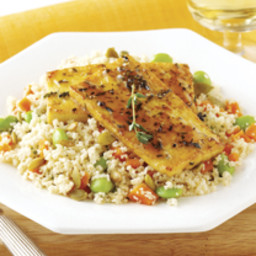 Honey-Glazed Tofu on Pumpkin Seed Couscous