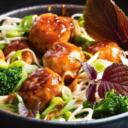 Honey miso turkey meatballs with noodle salad