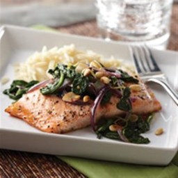 Honey Lemon Glazed Salmon with Spinach Saute