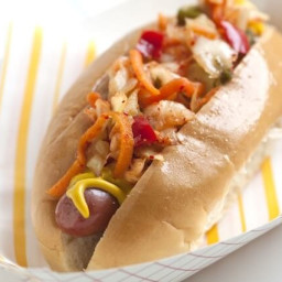 Hot Dogs with Kimchi Relish