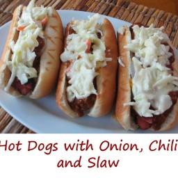Hot Dogs with Onion, Chili, and Slaw