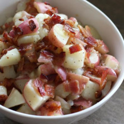 Hot German Potato Salad with Bacon and Vinegar Dressing