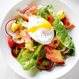 Hot-smoked trout and herb salad