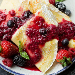 How to Make Crepes (With Berries + Cream Filling)
