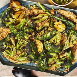 How To MakeGrilled Broccoli With Charred Lemon and Farro Over Hummus