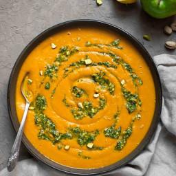 Hubbard Squash Soup with Pistachio Gremolata