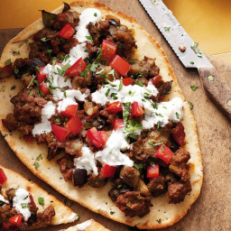 Indian-style lamb and eggplant pizzas