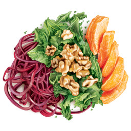 """Inspiralized"" Beet Pasta with Oranges, Honey Walnuts and Crispy Kale"