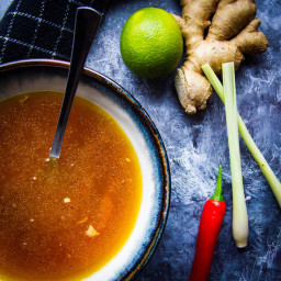 Instant Pot Chicken Bone Broth with Lemongrass + Chili