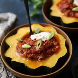 Instant Pot Easy Chili Acorn Squash Bowls