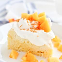 Instant Pot Peaches and Cream Coconut Tres Leches Cake