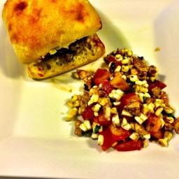 Italian Burgers with Fresh Mozzarella and Tomato-Corn Salad