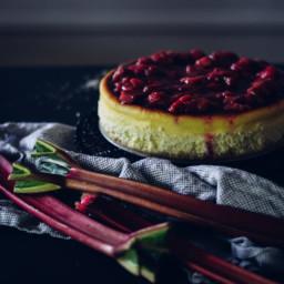Italian Cheesecake with a Rhubarb and Raspberry Sauce