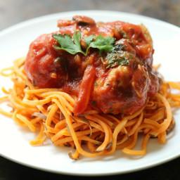 Italian Chicken Meatballs and Sweet Potato Spaghetti