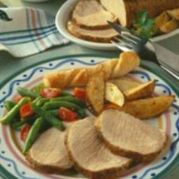 Italian Pork Roast with Roasted Potato Wedges