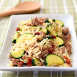 Italian Rice Skillet with Zucchini, Speedy Sausage and Sun-Dried Tomatoes