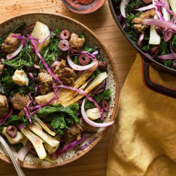 Italian sausage with spring vegetables