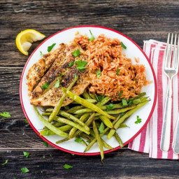 Italian-Spiced Chicken with Tomato Rice and Roasted Green Beans