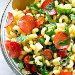 Italian Spinach Pizza Pasta Salad