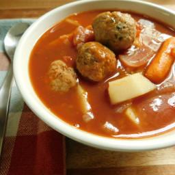 Italian style chicken meatball stew
