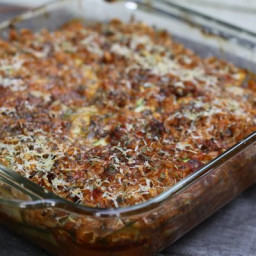 italian summer casserole: baked zucchini, brown rice and tomato sauce with
