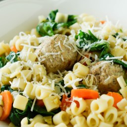 Italian Wedding Soup Pasta with Homemade Meatballs