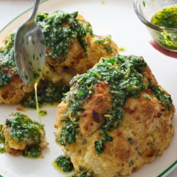 Italian Whole-Roasted Cauliflower with Parsley Sauce