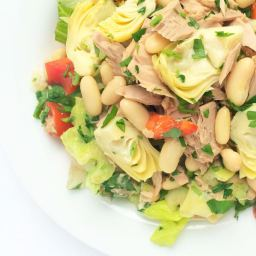 Italian Chopped Salad with Tuna, Artichokes and Cannellini Beans