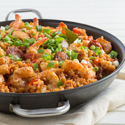 Jambalaya with Shrimp, Andouille, and Smoked Ham