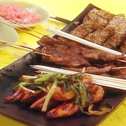 Japanese Style Barbecue Party: Chicken Yakitori, Beef with Ginger and Soy,