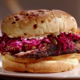 Jewish Brisket Sandwich with Smoked Mozzarella and Red Cabbage Slaw