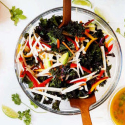 Jicama, Chicken, & Kale Salad with Citrus-Ginger Dressing