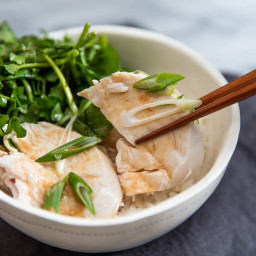 Juicy and Tender Poached Chicken With Watercress and Miso Dressing Recipe