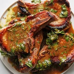 Juicy Pan-Seared Pork Chops with Citrus Dressing