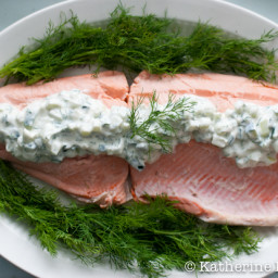 Julia Child's Poached Salmon with Cucumber Sauce