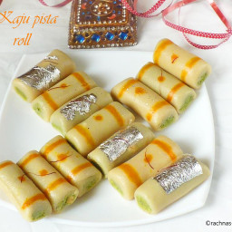 Kaju pista roll recipe, How to make kaju pista roll at home | Cashew Pistac