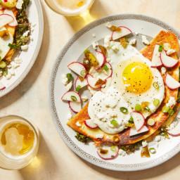 Kale & Monterey Jack Quesadillas with Spicy Radish Salsa & Fried Eg
