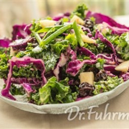 Kale and Red Cabbage Salad with Apples and Dried Cherries