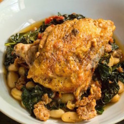 Kale and White Bean Braised Chicken