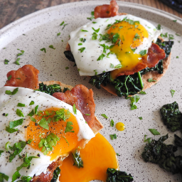 Kale, Bacon & Egg Breakfast Tostadas