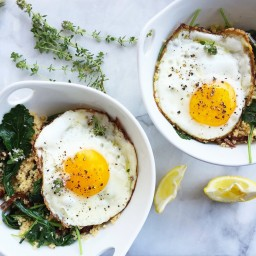 kale & couscous breakfast bowl with egg