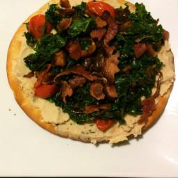 Kale, Mushroom, and Bacon Pita Pizzas