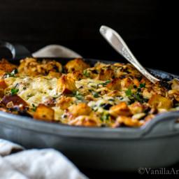 Kale, Mushroom, Leek Savory Bread Pudding