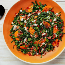 Kale Salad with Persimmons, Feta, and Crisp Prosciutto