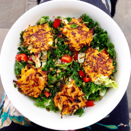 Kale salad with Sweet Potato Hash Browns