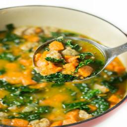 Kale Sausage Sweet Potato Bean Soup