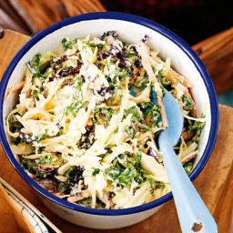 Kale slaw with white barbecue sauce