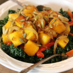 Kale with Caramelized Squash and Onions