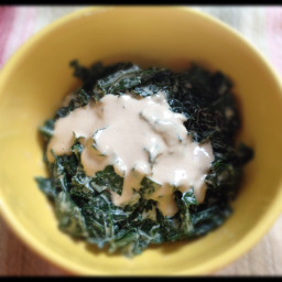 Kale with Savory and Tangy Tahini Dressing